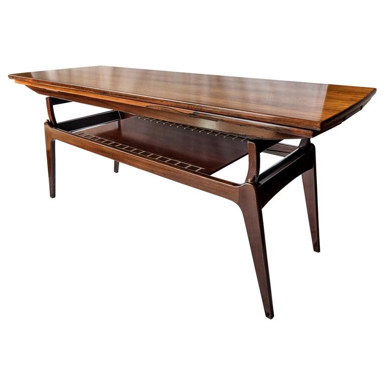 Midcentury Rosewood Metamorphic Elevator Coffee Dinner Table B C Møbler 60 S