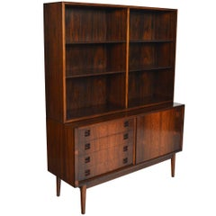 Midcentury Rosewood Credenza with Bookcase Hutch
