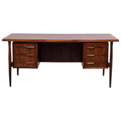 Midcentury Modern Brown Rosewood Desk, 20th Century, c 1960s, lockable drawers