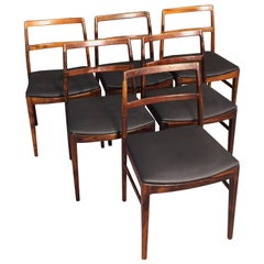 Midcentury Rosewood Dining Chairs Black Leather Arne Vodder Model 430, 1960s