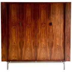 Midcentury Rosewood Double Wardrobe Armoire, 1970