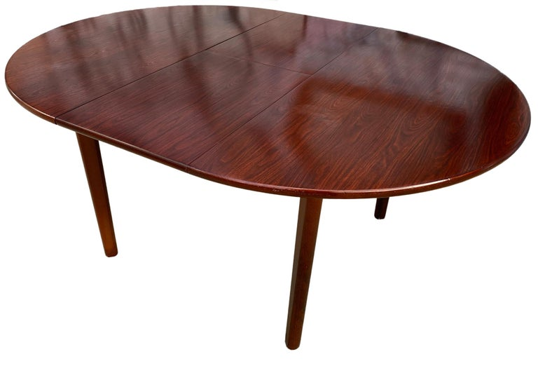 Mid-Century Modern Midcentury Rosewood Expandable Round Dining Table with 1 Nesting Leaf For Sale