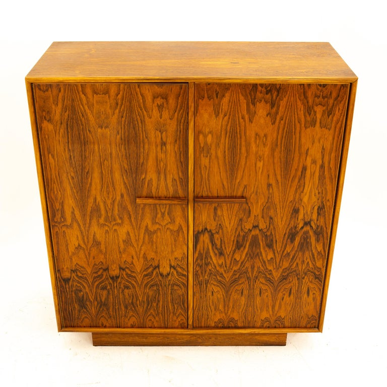 Mid Century Rosewood Highboy Armoire Dresser In Good Condition In La Grange, IL