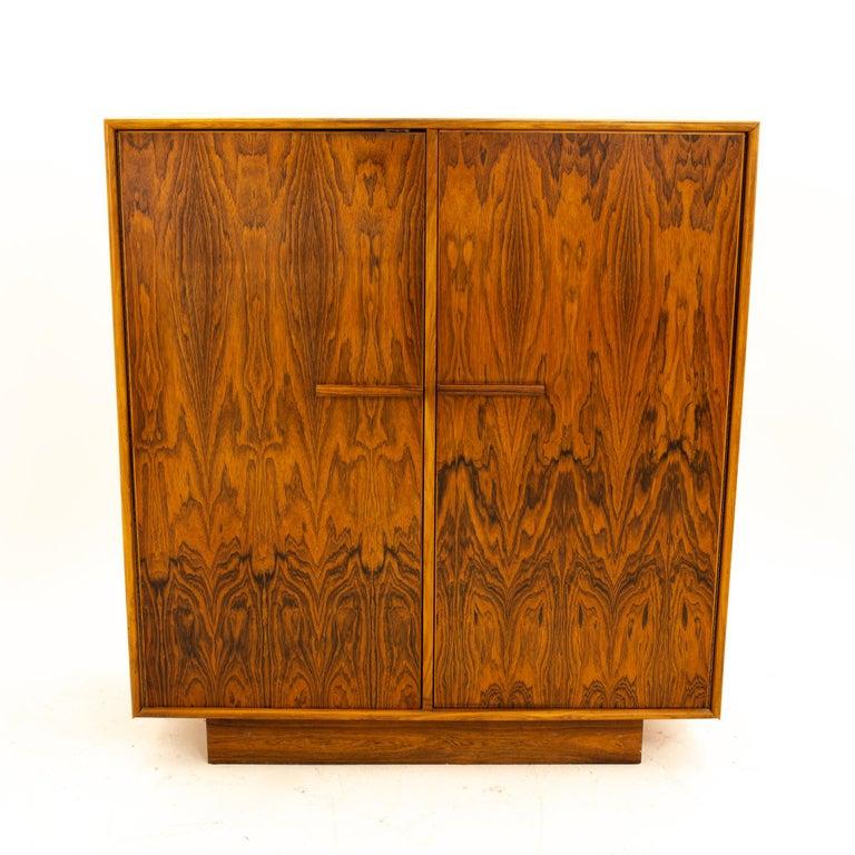 Late 20th Century Mid Century Rosewood Highboy Armoire Dresser