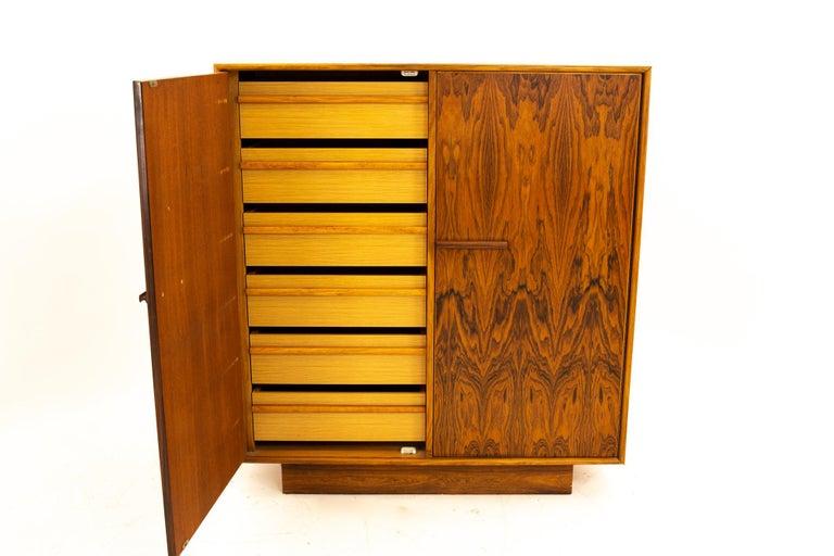 Mid Century Rosewood Highboy Armoire Dresser 1