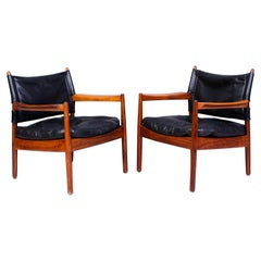 Midcentury Rosewood & Leather Easy Chairs by Gunnar Myrstrand for Källemo, 1960s