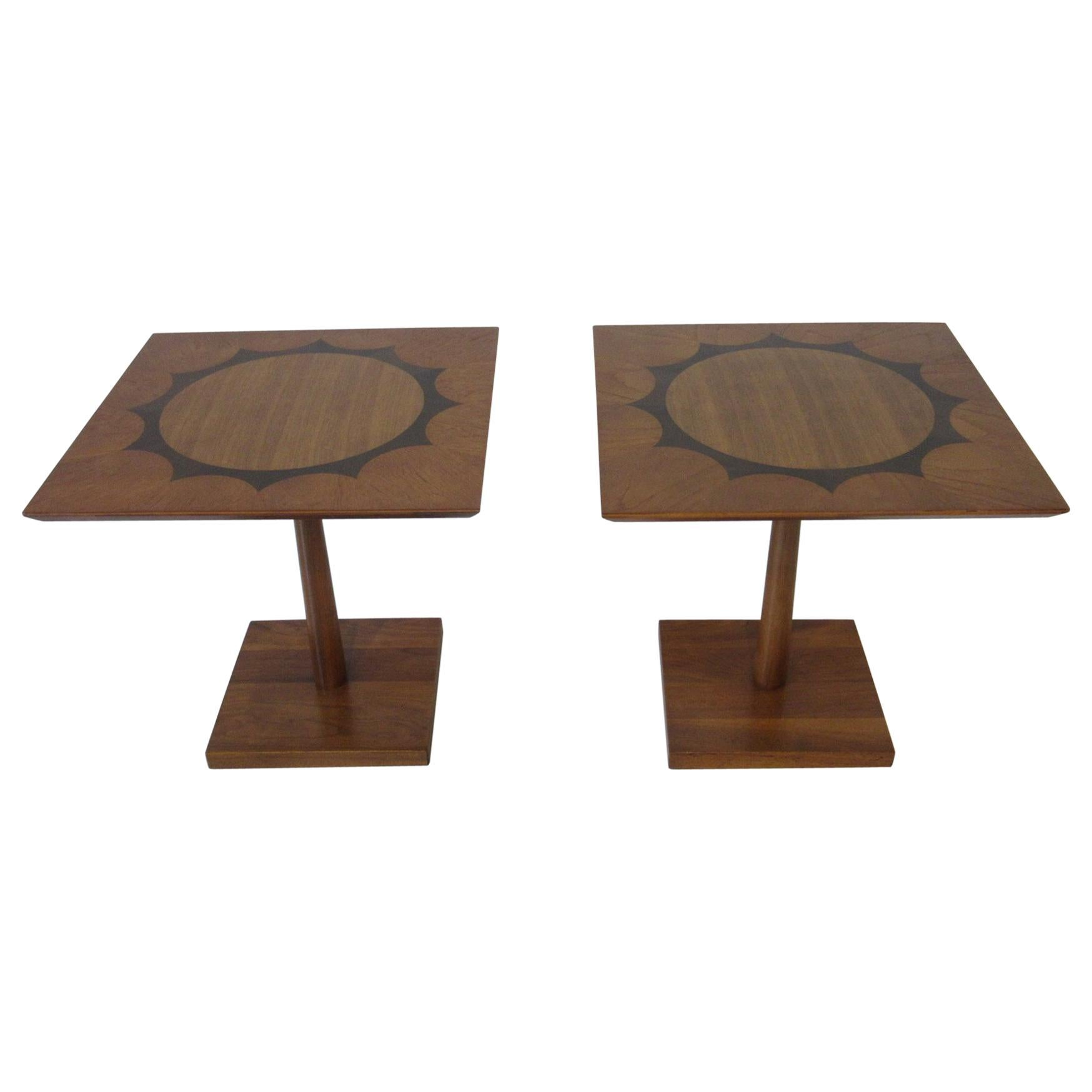 Midcentury Rosewood / Mahogany and Walnut Pedestal End Tables