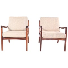Midcentury Rosewood Ole Wanscher Easy Chairs, 1960s
