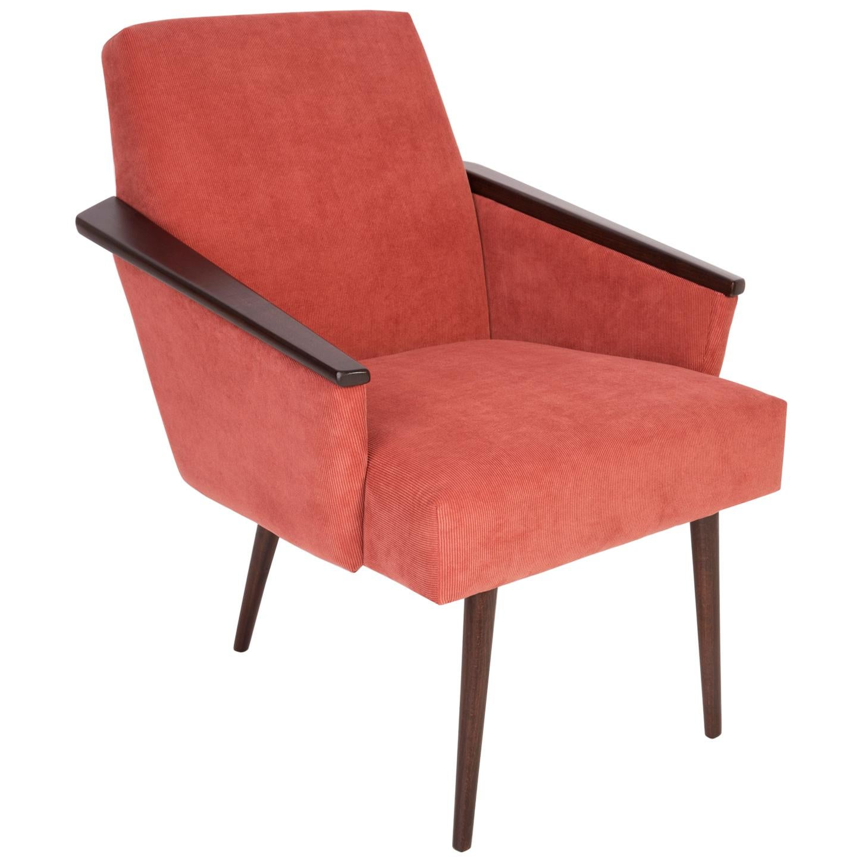 Midcentury Rosewood Pink Corduroy Club Armchair, 1960s