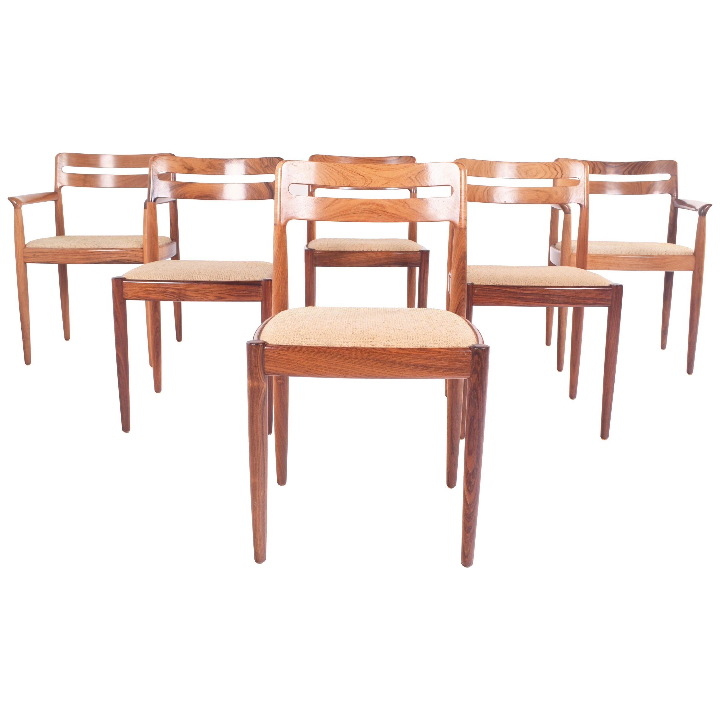 Midcentury Rosewood Set of Six H.W. Klein Dining Chairs for Bramin