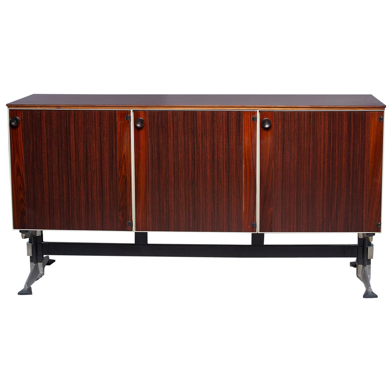 Midcentury Rosewood Three-Door Cabinet