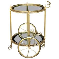 Midcentury Round Brass and Glass Liquor Cart