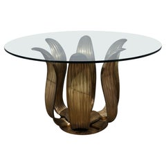 Midcentury Round Brass and Glass of Italian School Table, 1960