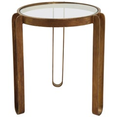 Midcentury Round Brass and Glass Side Table with Hairpin Legs