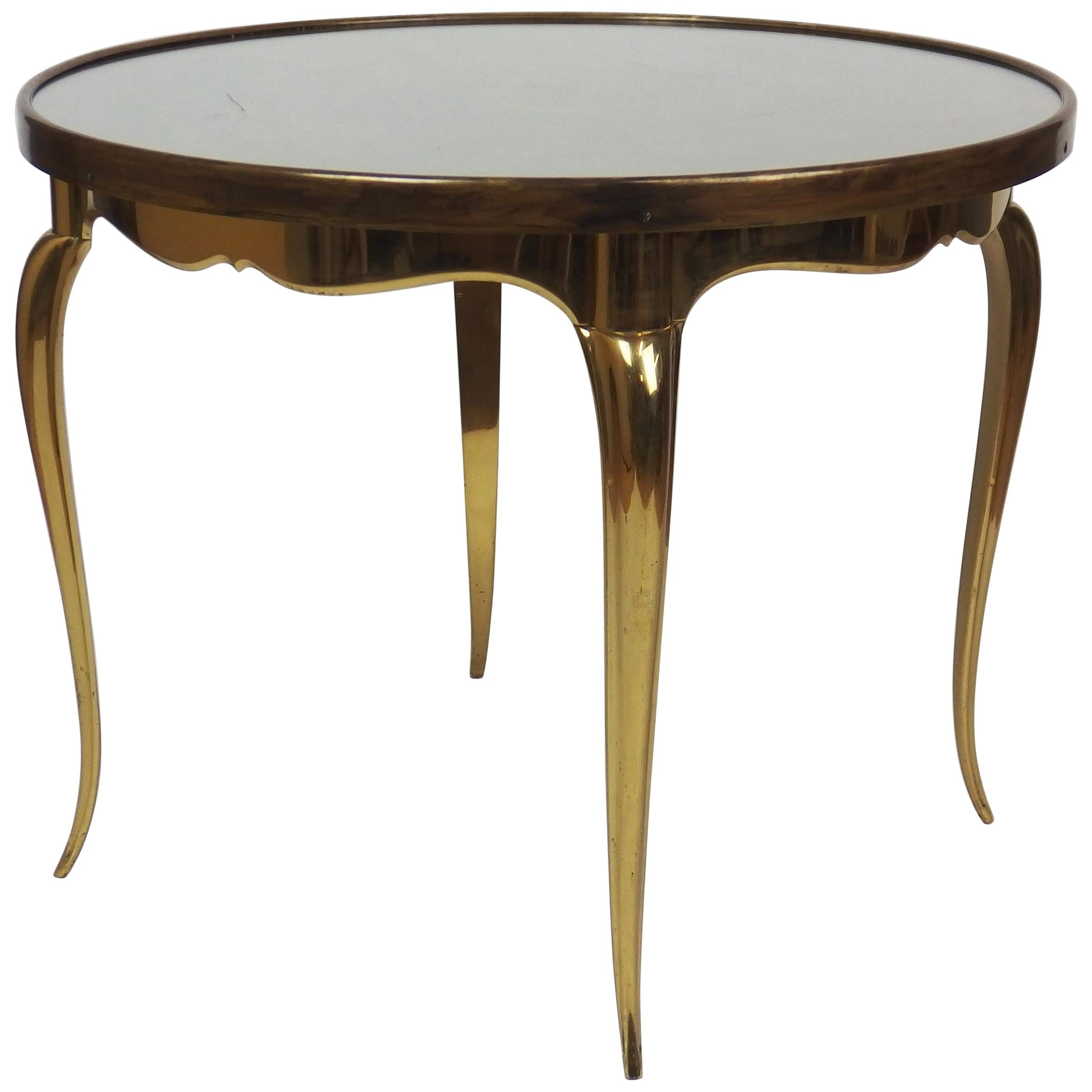 Midcentury Round Bronze Coffee Table For Sale