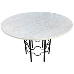Midcentury Round Carrara Marble-Top Patio Dining Table with Hexagon Iron Base