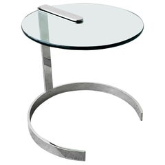 Midcentury Round Chrome and Glass Cantilevered Side Table