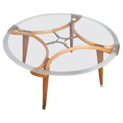 Midcentury Round Coffee Table in Glass and Oak by William Watting for Fristho