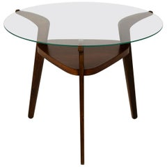 Midcentury Round Czech Glass Top Coffee Table from Jitona, 1960s
