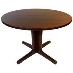 Midcentury Round Danish Rosewood Dining Table with Two Leafs