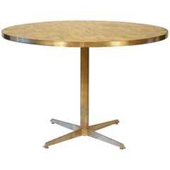 Midcentury Round Dining Table with Gilded Glass Tiles Top and Brass Base