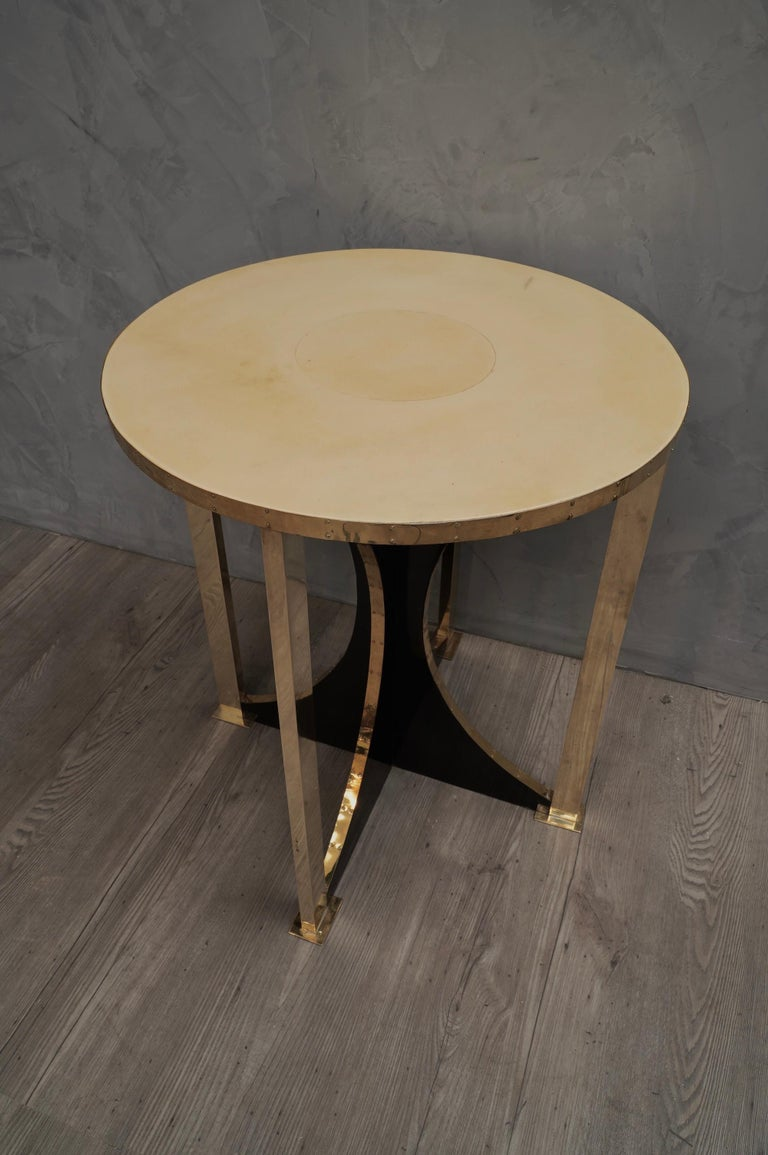 Mid-Century Modern Midcentury Round Goat Skin and Brass Side Table, 1960 For Sale