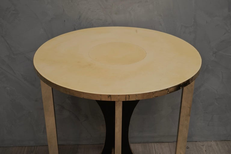 Italian Midcentury Round Goat Skin and Brass Side Table, 1960 For Sale