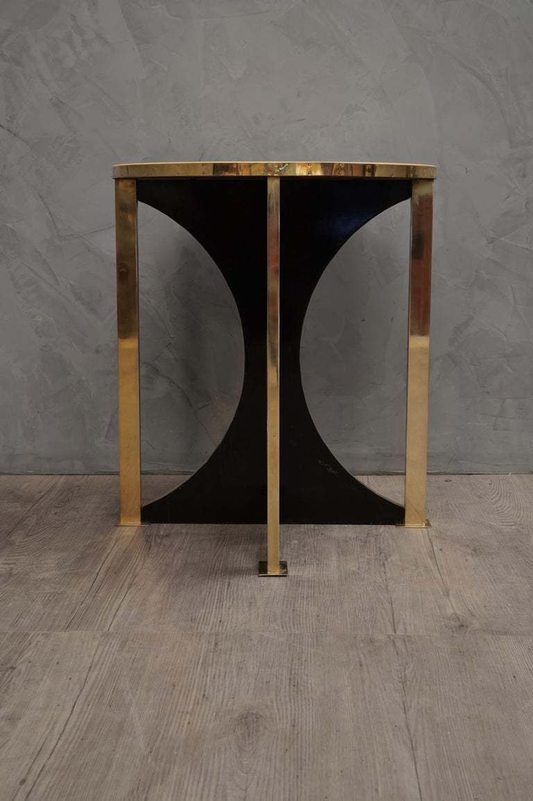 Mid-20th Century Midcentury Round Goat Skin and Brass Side Table, 1960 For Sale