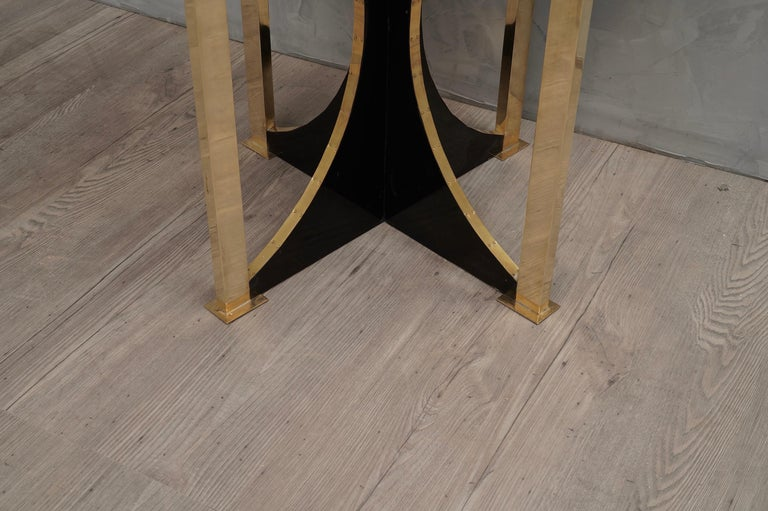 Midcentury Round Goat Skin and Brass Side Table, 1960 For Sale 1