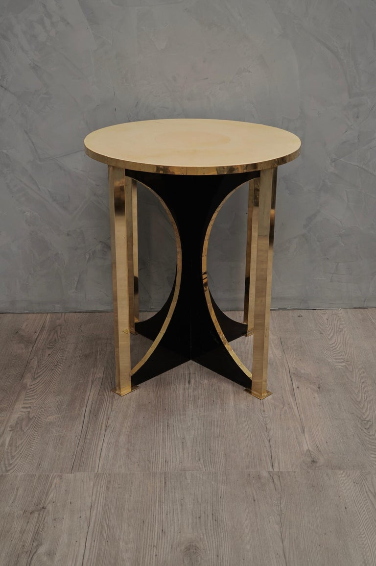 Midcentury Round Goat Skin and Brass Side Table, 1960 For Sale 2