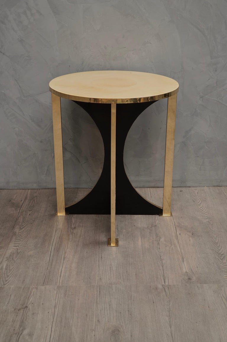 Midcentury Round Goat Skin and Brass Side Table, 1960 For Sale 3