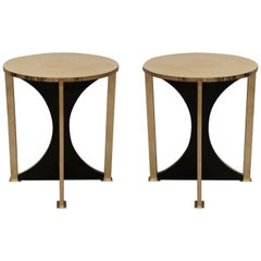 Midcentury Round Goat Skin and Brass Side Table, 1960