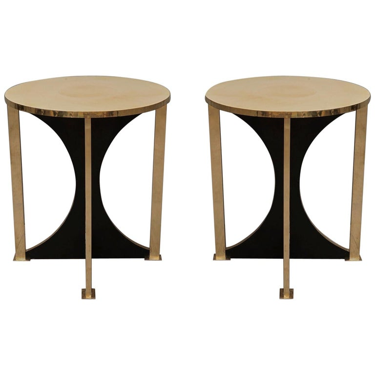 Midcentury Round Goat Skin and Brass Side Table, 1960 For Sale