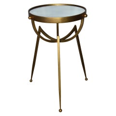 Mid-Century Round Gold Toned Mirrored Top Spider Leg Metal Base Table