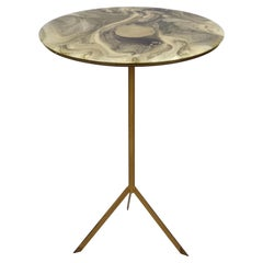 Midcentury Round Italian Gueridon Table with Marble Resin Top and Metal, 1950s