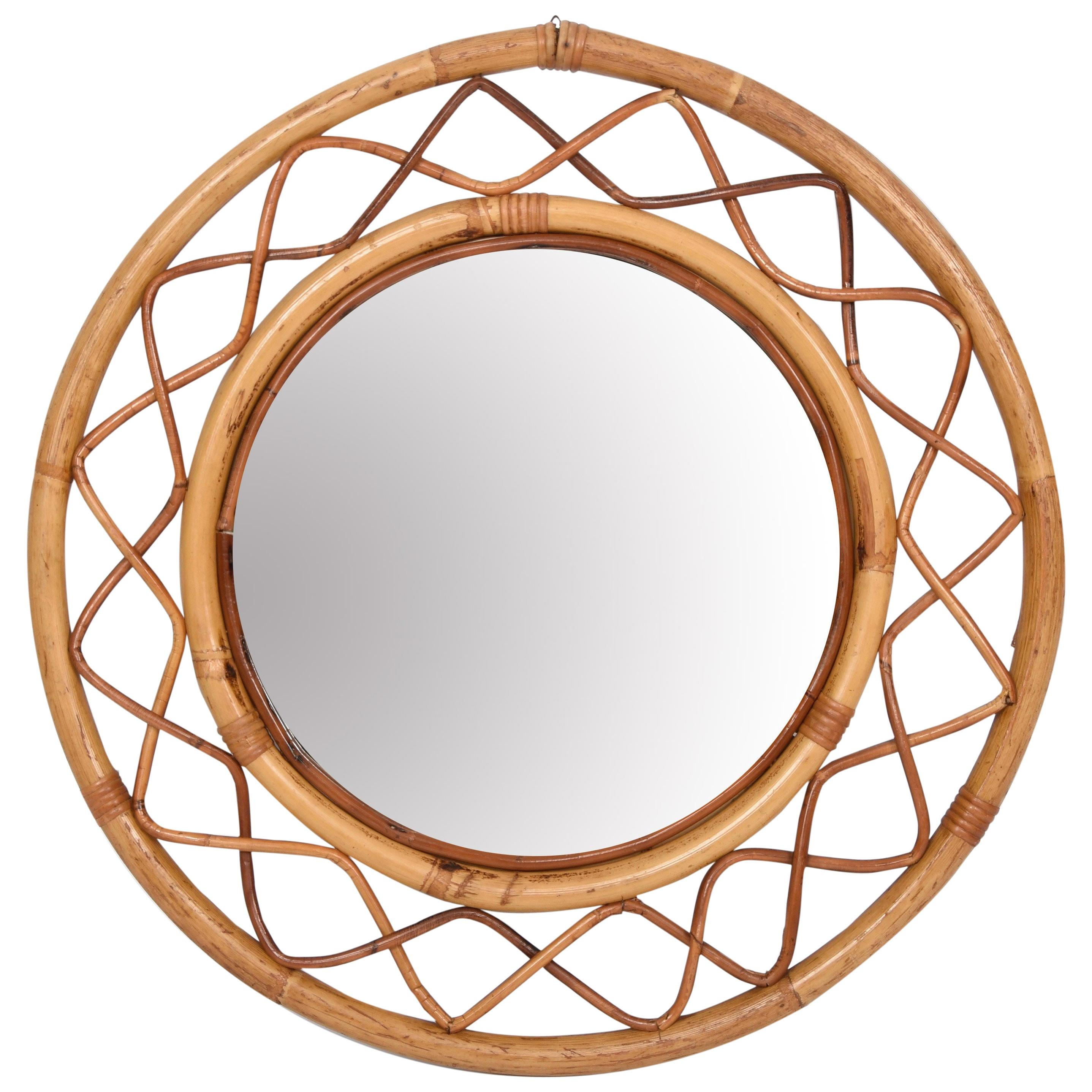 Midcentury Round Italian Mirror with Double Bamboo Weaved Wicker Frame, 1960s