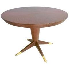 Midcentury Round Mahogany and Brass Dining Table, Italy, 1950s