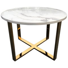 Midcentury Round Marble and Brass Table