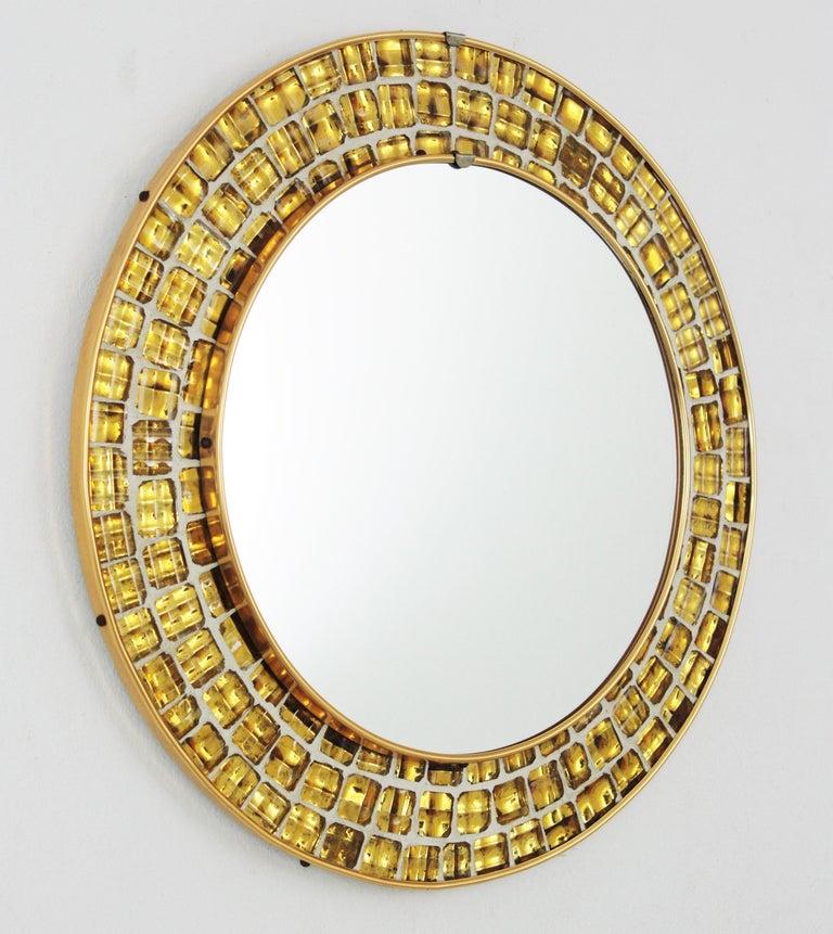 Mid-Century Modern Midcentury Round Mirror with Golden Glass Mosaic Frame For Sale