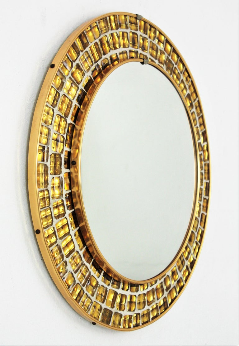 Spanish Midcentury Round Mirror with Golden Glass Mosaic Frame For Sale