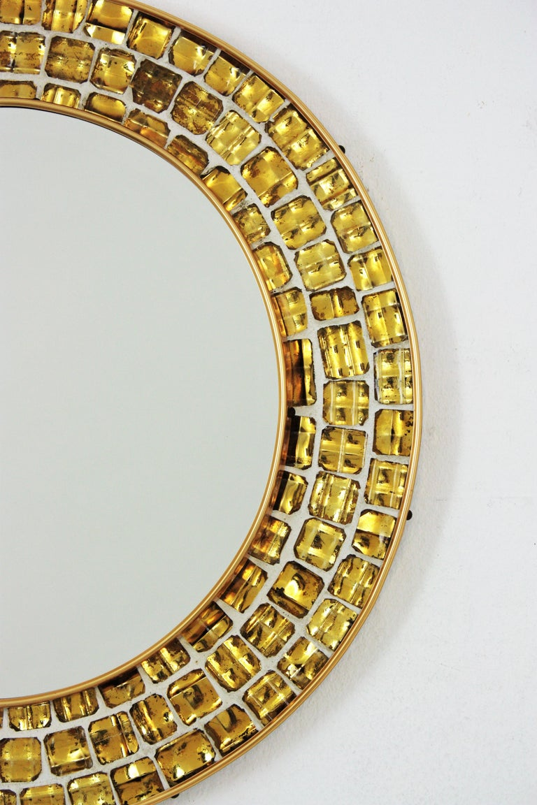 20th Century Midcentury Round Mirror with Golden Glass Mosaic Frame For Sale