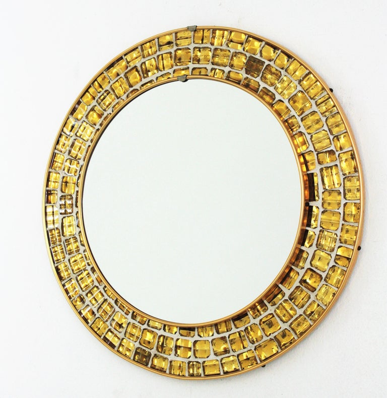 Art Glass Midcentury Round Mirror with Golden Glass Mosaic Frame For Sale