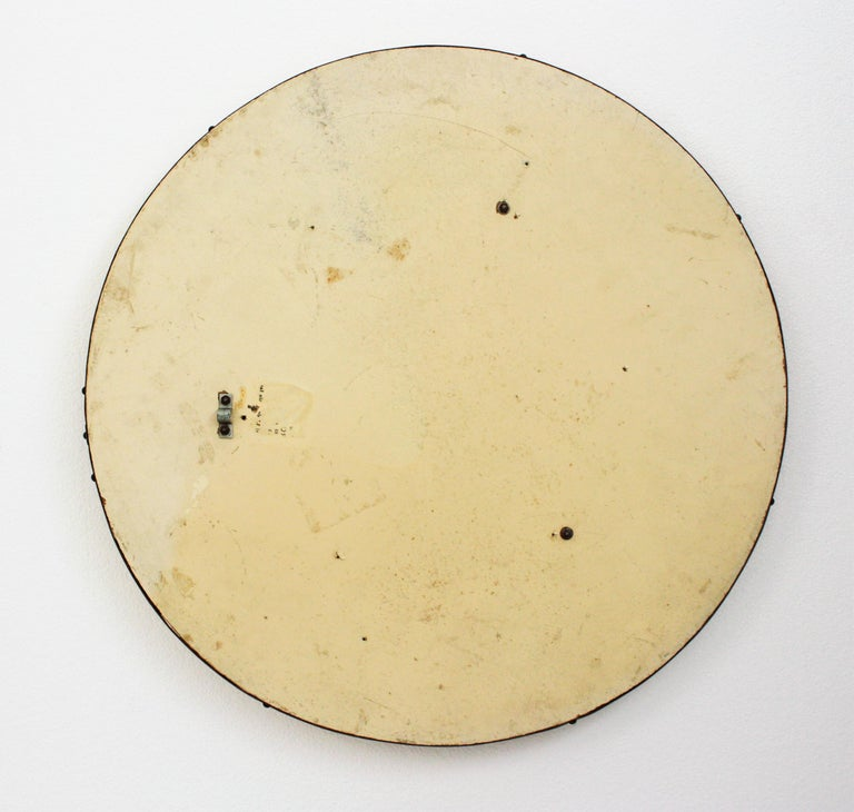 Midcentury Round Mirror with Golden Glass Mosaic Frame For Sale 1