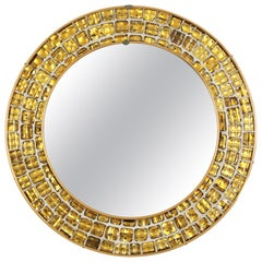 Midcentury Round Mirror with Golden Glass Mosaic Frame