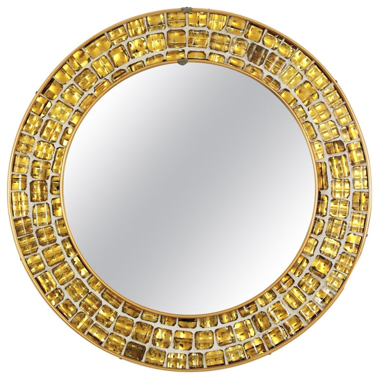 Midcentury Round Mirror with Golden Glass Mosaic Frame For Sale