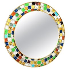 Midcentury Round Mirror with Multi-Color Art Glass Mosaic Frame, 1960s