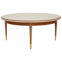 Midcentury Round Mosaic Coffee Table by Berthold Müller with Walnut Base, 1960s