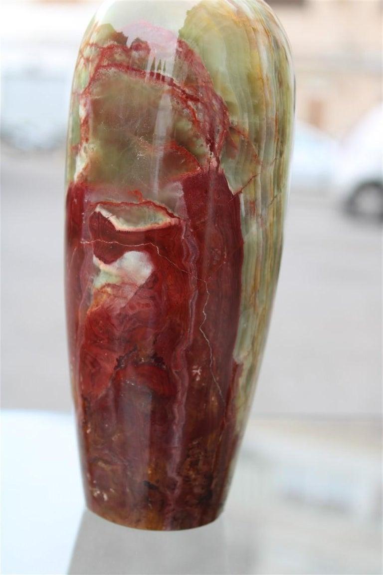 Mid-Century Modern Midcentury Round Onix Vases in Italian Design Marble 1950s Green Mangiarotti