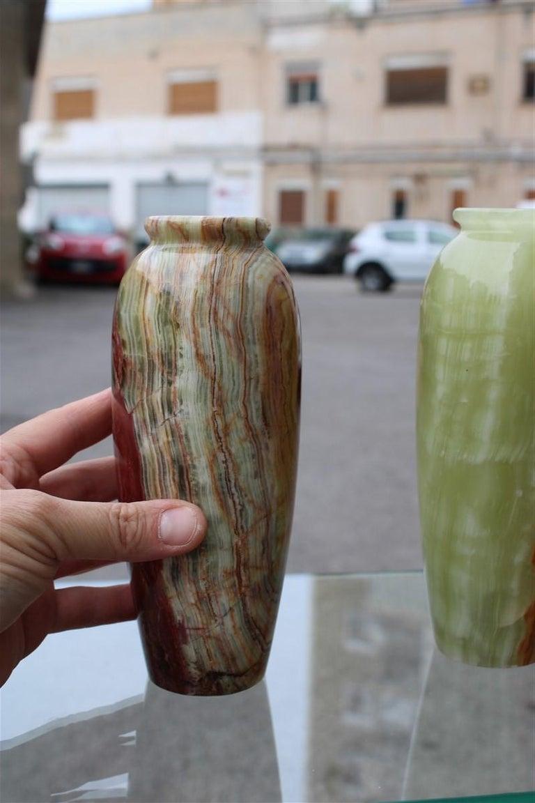 Midcentury Round Onix Vases in Italian Design Marble 1950s Green Mangiarotti 1