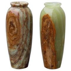 Midcentury Round Onix Vases in Italian Design Marble 1950s Green Mangiarotti